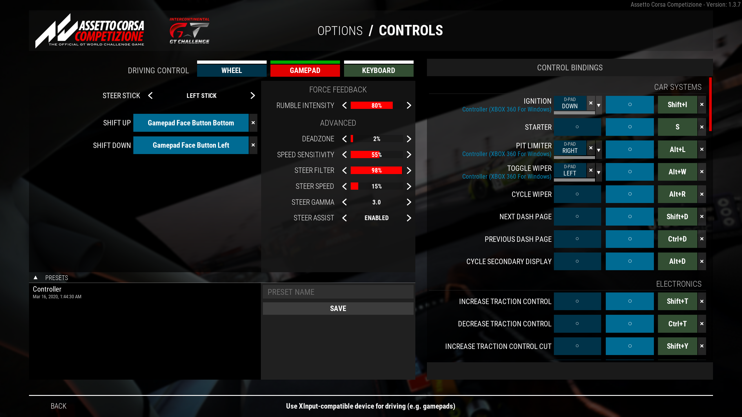 Optimale Controller-Setting für Assetto Corsa Competizione